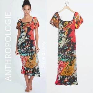 ANTHROPOLOGIE Bl-nk Galina Smocked Midi Dress XL